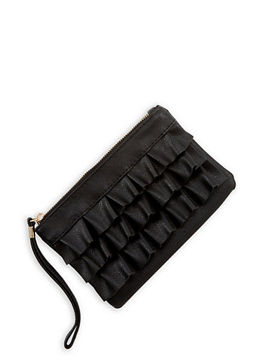 Ruffled Faux Leather Clutch,BLACK,large