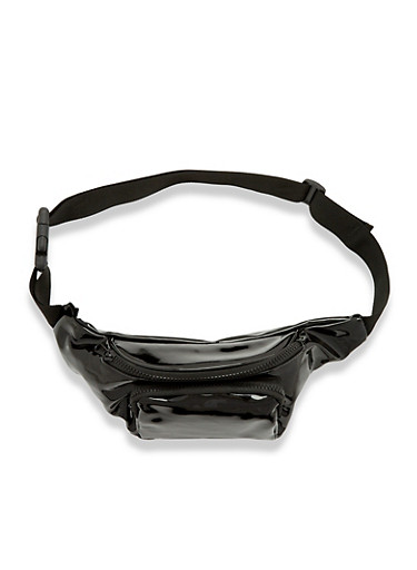 Faux Patent Leather Fanny Pack,BLACK,large