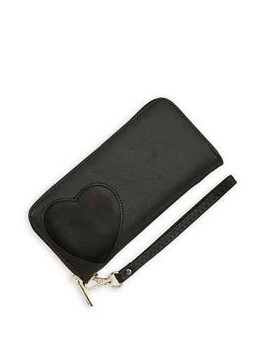 Faux Leather Heart Cutout Wallet,BLACK,large