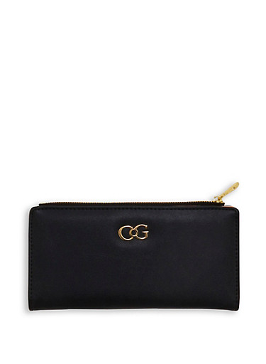 Two Tone Bifold Zip Wallet,BLACK/BLUSH,large