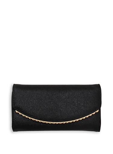 Shimmer Metallic Trim Wallet,BLACK,large