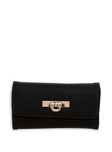 Faux Pebbled Leather Wallet,BLACK,large