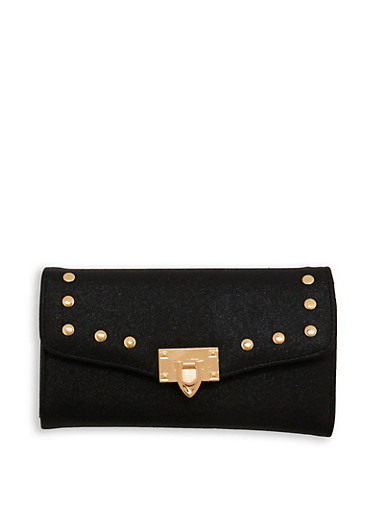 Shimmer Faux Leather Studded Wallet,BLACK,large