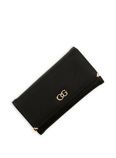 Tri Fold Wallet with Metallic Accents,BLACK,large