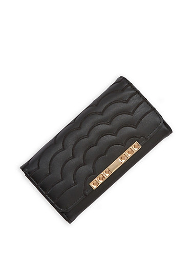 Embroidered Tri Fold Wallet,BLACK,large