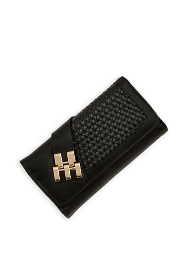 Faux Leather Woven Tri Fold Wallet,BLACK,large