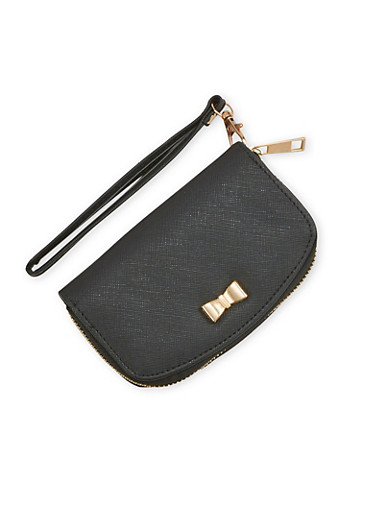 Faux Leather Zip Wallet with Metallic Bow,BLACK,large