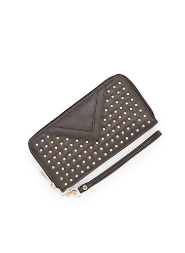 Studded Wristlet Wallet with Faux Flap,BLACK,large