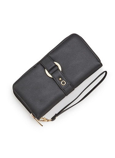 Faux Leather Continental Wallet with Ring Accent,BLACK,large