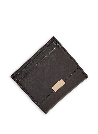 Textured Faux Leather Card Wallet,BLACK,large