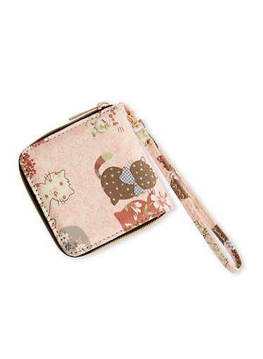 Cat Print One Zip Wristlet Wallet,PINK,large