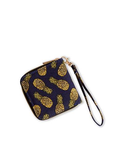 Pineapple Print Denim Wristlet Wallet,BLUE DENIM,large