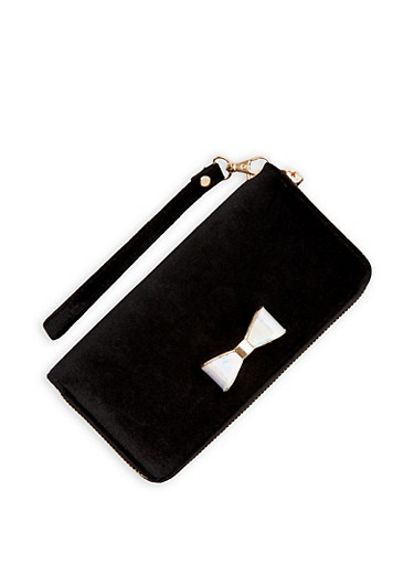 Velvet Bow Wallet with Wristband,BLACK,large