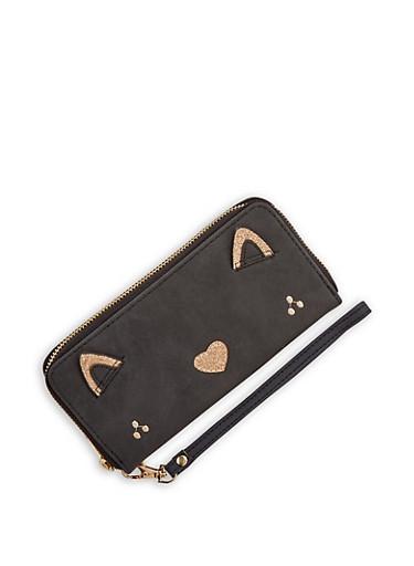 Glitter Cat Wallet,BLACK,large