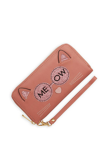 Meow Graphic Glitter Faux Leather Wallet,BLUSH/ROSE,large