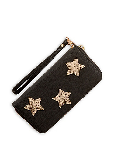 Faux Leather Sequin Star Wallet,BLACK,large