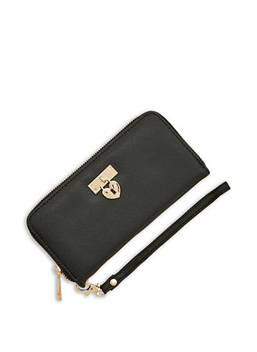 Textured Faux Leather Wallet with Heart Lock Charm,BLACK,large