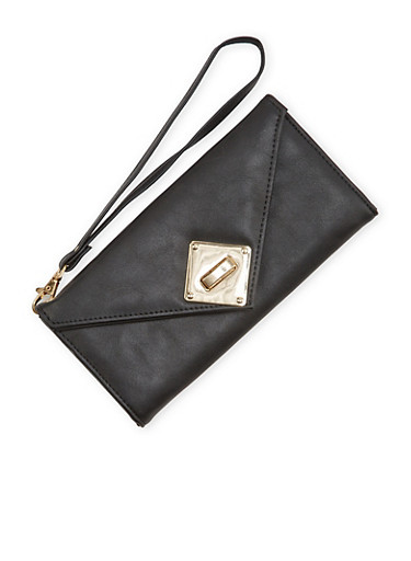 Faux Leather Envelope Wristlet Wallet,BLACK,large