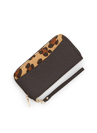 Wristlet Wallet in Faux Leather with Leopard Print,BLACK,large