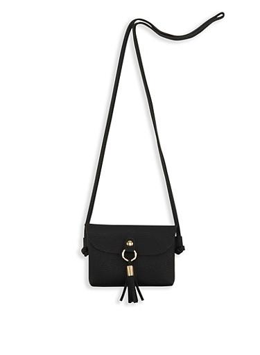 Mini Faux Leather Tassel Crossbody Bag,BLACK,large
