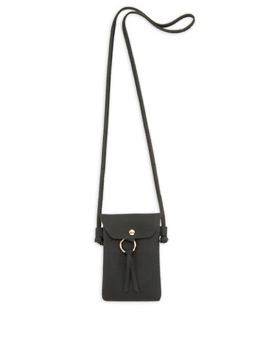 Small Textured Faux Leather Crossbody Bag,BLACK,large