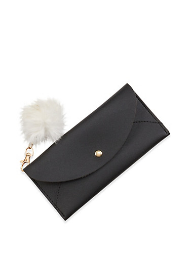 Faux Leather Wallet with Pom Pom Keychain,BLACK,large