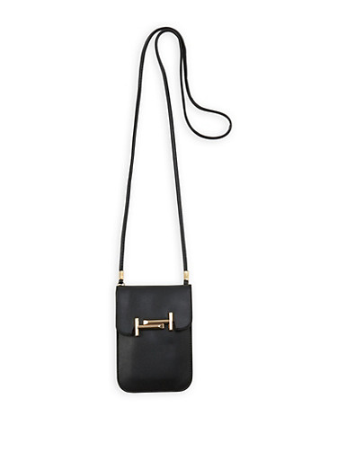 Metallic Detail Crossbody Bag,BLACK,large