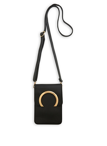 Metallic Detail Faux Leather Crossbody Bag,BLACK,large