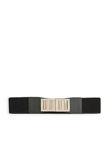 Rhinestone Buckle Waist Belt,BLACK,large
