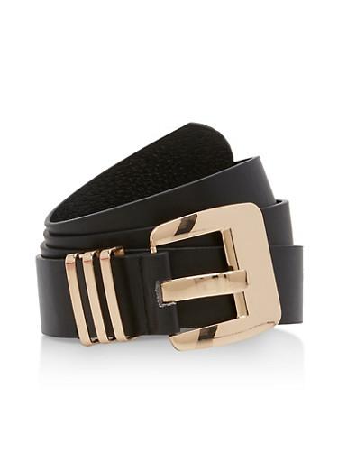 Plus Size Three Metallic Loop Faux Leather Belt,BLACK,large