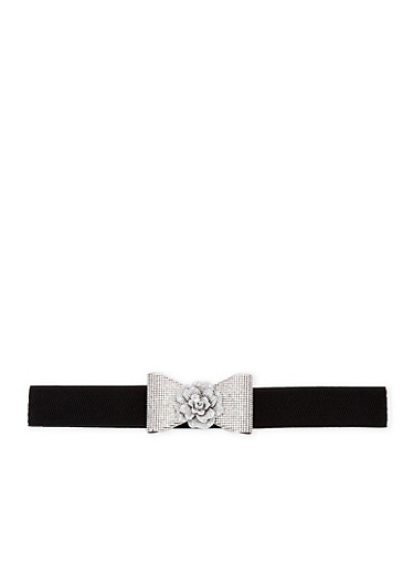 Rhinestone Flower Bow Stretch Belt,BLACK,large
