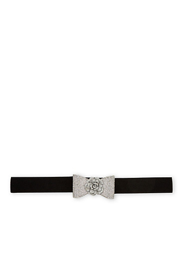 Plus Size Stretch Belt with Studded Bow and Flower Buckle,BLACK,large