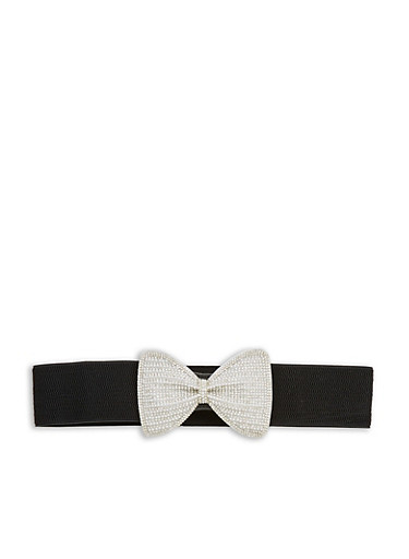 Pearl and Rhinestone Bow Waist Belt,BLACK,large