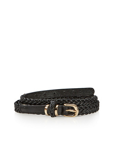 Belt in Braided Faux Leather,BLACK,large