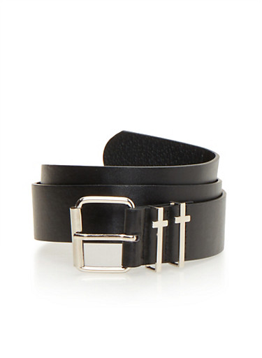 Faux Leather Belt with Cross Buckles,BLACK,large