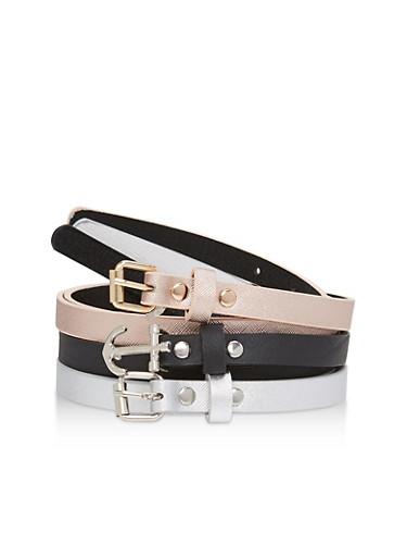 Set of 3 Faux Leather Skinny Belts,BLACK/ROSE/SILVER,large