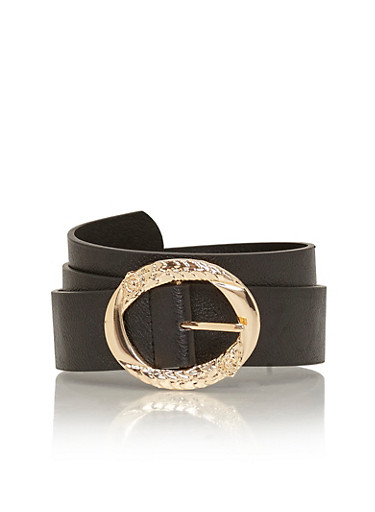 Faux Leather Belt with Oval Embossed Buckle,BLACK,large