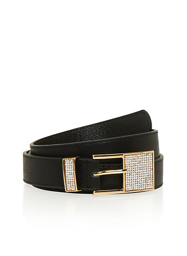 Faux Leather Belt with Square Rhinestone Buckle,BLACK,large