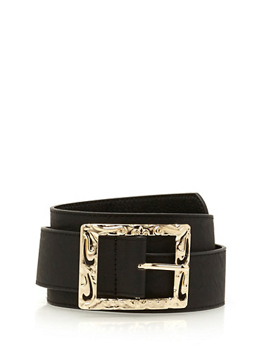 Embossed Square Buckle Faux Leather Belt,BLACK,large