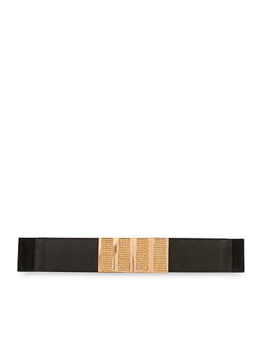 Plus Size Wide Belt with Crystals,BLACK,large