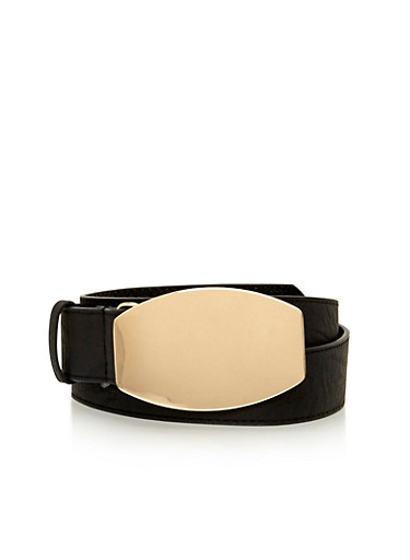Faux Leather Belt with Metal Plated Buckle,BLACK,large