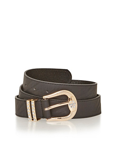 Faux Leather Belt with Rhinestone Detailed Buckle,BLACK,large