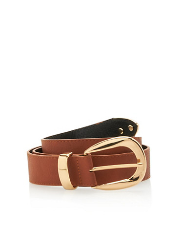 Metal Buckle Faux Leather Belt,COGNAC,large