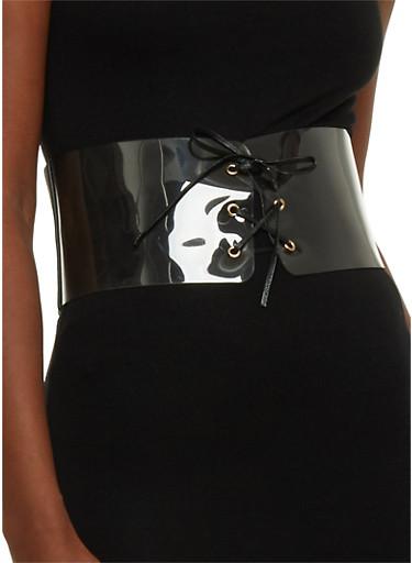 Clear Lace Up Elastic Waist Belt,BLACK/CLEAR,large