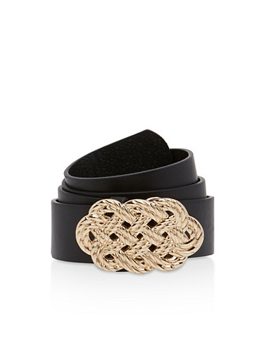 Metallic Woven Buckle Belt,BLACK,large