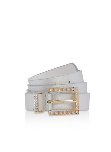 Rhinestone Square Buckle Faux Leather Belt,SILVER,large