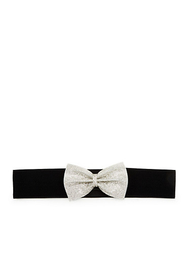 Wide Elastic Belt with Crystal Bow,BLACK,large