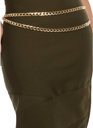 Plus Size Metallic Double Chain Belt,GOLD,large
