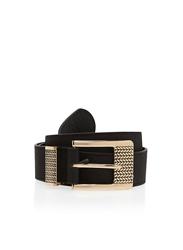 Faux Leather Belt with Etched Buckle,BLACK,large