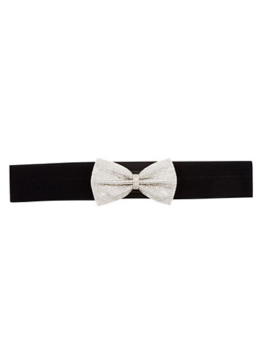 Plus Size Waist Belt with Crystal Covered Bow,BLACK,large